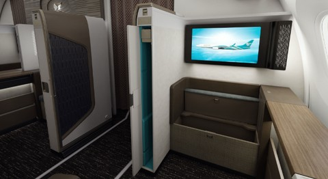 Oman Air First Class Suite stowage space