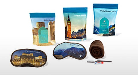 Oman Air Economy Class guests will receive a collectible range of colorful amenity kits to keep you well rested and refreshed