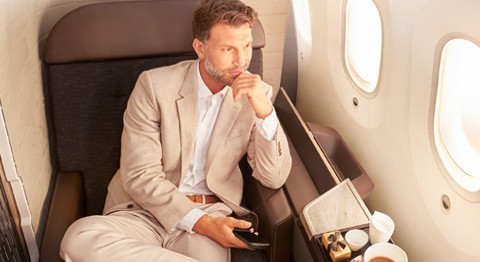 Oman Air First Class Suite male model